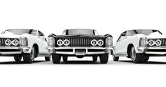 Black And White Classic American Cars Stock Illustration