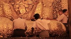 Mahamuni  Believers Worship Buddha Statue Stock Footage