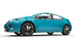 Blue Electric Car - Side View - stock illustration