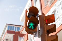 Traffic lights with the green light Stock Photos