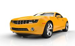 Yellow Fast Car On White Background Stock Illustration