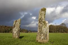 Standing stones in Kilmartin Glen Argyll and Bute Scotland United Kingdom Europe - stock photo