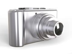 Silver compact digital photo camera Stock Illustration