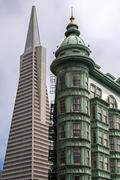 Transamerica Pyramid and Francis Coppola Building San Francisco California USA Stock Photos