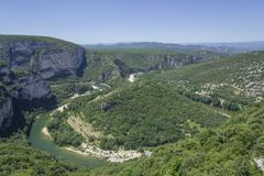 View over Gorges de lArdeche Vallon Pont dArc Rhone Alpes France Europe - stock photo