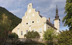 Historical Erlahof baroque gabled facade now a maritime museum Spitz Wachau - stock photo