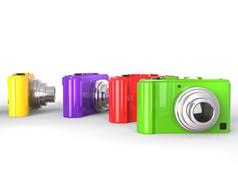 Colorful compact digital photo camera. - stock illustration