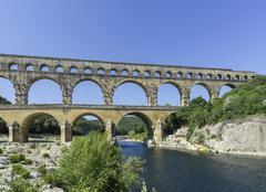 Pont du Gard ancient Roman aqueduct VersPontduGard LanguedocRoussillon Stock Photos