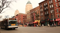 Bus and Traffic on 9th Avenue Hell's Kitchen Stock Footage