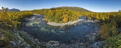 River bend in Abiskojokk autumnal landscape Abisko National Park Norrbotten - stock photo