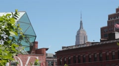 Empire State Building seen from NYC High Line Stock Footage