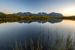 Vuolio Njahkajavri lake in evening light Abisko National Park Norrbotten - stock photo