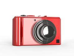 Red compact digital photo camera with black lens Stock Illustration