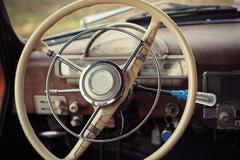 Steering retro car Stock Photos