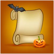 Halloween banner, card with empty paper scroll and pumpkin, bat. Blank ancien - stock illustration