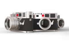 Three retro style photo cameras - studio lighting Stock Illustration