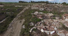 Aerial drone scene of demolished, destroyed city, Epecuen in Buenos Aires Stock Footage
