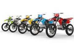 Row of motocross bikes isolated on white background - stock illustration
