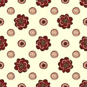 Red flowers and circles pattern natural seamless background - stock illustration