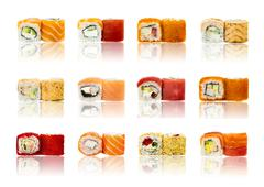 Sushi pieces collection, isolated on white background - stock photo