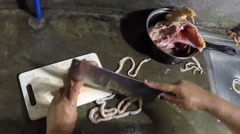 Gizzard cut with knife Stock Footage