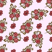 Natural red berries seamless pattern background - stock illustration