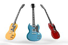 Yellow, blue and red electric guitars Stock Illustration