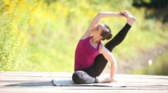 Advanced yoga practice Stock Footage