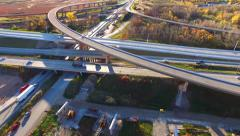 New Highway Overpass Ramp Construction, Autumn Morning Aerial View Stock Footage
