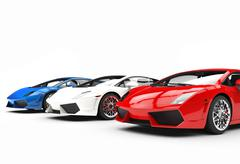 Red White and Blue Supercars Piirros