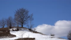End of winter landscape on the hill Stock Footage
