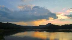 Mountain and river at Huai Krating (Upper Huai Nam Man) Reservoir, Thailand Stock Footage