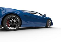 Dark Blue Supercar Side View - stock illustration