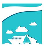 Passenger ship and sail boat icon in ocean, paper cuuting Stock Illustration