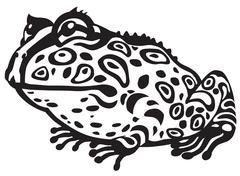 Cartoon pacman frog black white Piirros