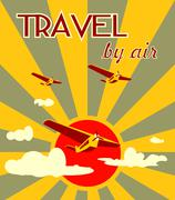 Airplanes on sun burst backdrop and travel by air text Stock Illustration