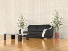 Modern black leather sofa with coffe table - stock illustration