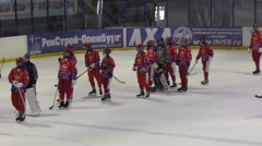 Game in Mini hockey with the ball Stock Footage