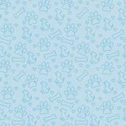 Blue Doggy Tile Pattern Repeat Background - stock illustration