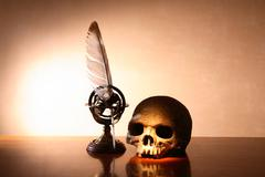 Skull And Quill Pen Stock Photos