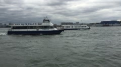 Ferry boats traveling on the Hudson River. Stock Footage