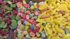 Candy store sweets on display Stock Footage