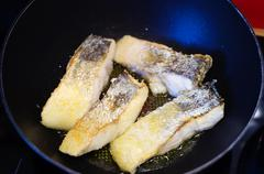 Fried zander fillets Stock Photos
