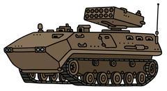 Sand track armoured vehicle Stock Illustration