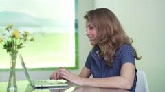 Pretty businesswoman on video conference in office, Skype Stock Footage