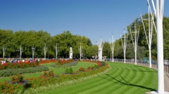 Pan shot from the Mall to the Victoria Memorial Stock Footage