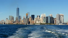 Lower manhattan skyline view from moving staten island ferry 4K UHD Stock Footage