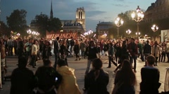 Nuit Blanche Crowd of Paople in Hotel de Ville, Paris Stock Footage