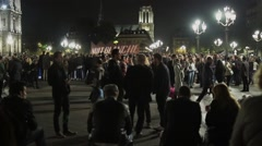 Crowd of People in The Famous Nuit Blanche in Hotel de Ville, Paris Stock Footage