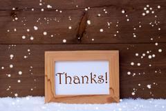 Picture Frame With Text Thanks, Snow, Snowflakes Stock Photos